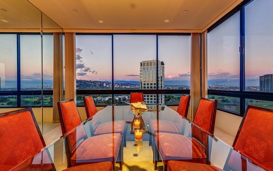 "Talk about dinner with a view! Shot this amazing dining room on the 14th floor of ""The Diplomat"" in Beverly Hills this week. . . . . #realestate #larealestate #luxuryrealestate #luxuryhomes #luxury_homes #highclasshomes #losangelesphotographer #creativevisionstudios #losangeles #architecture #milliondollarlisting #interior #realestatemarketing #realestatephotography #instapic #instagram #photooftheday #archilovers #interiorphotography #twilight #beautiful #amazing #photographer #beverlyhills #architecturaldigest #windows #view #highrise"